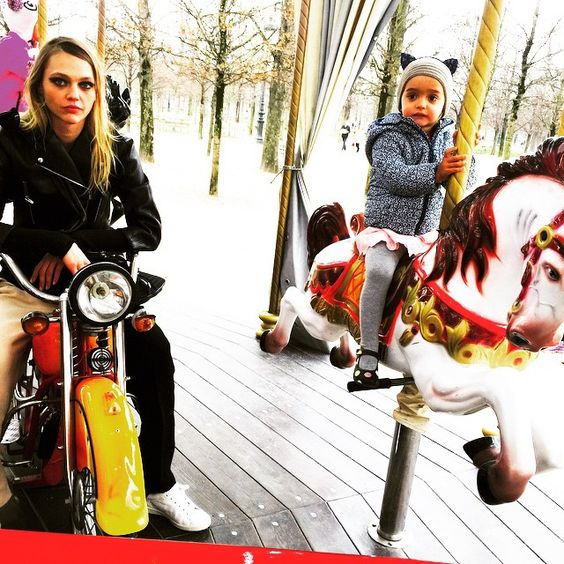 """#Aftershowfun Riding a motorbike with my little one #carousel #paris#pfw"" Photo taken by @sashapivovarovareal on Instagram, pinned via the InstaPin iOS App! http://www.instapinapp.com (03/10/2015)"