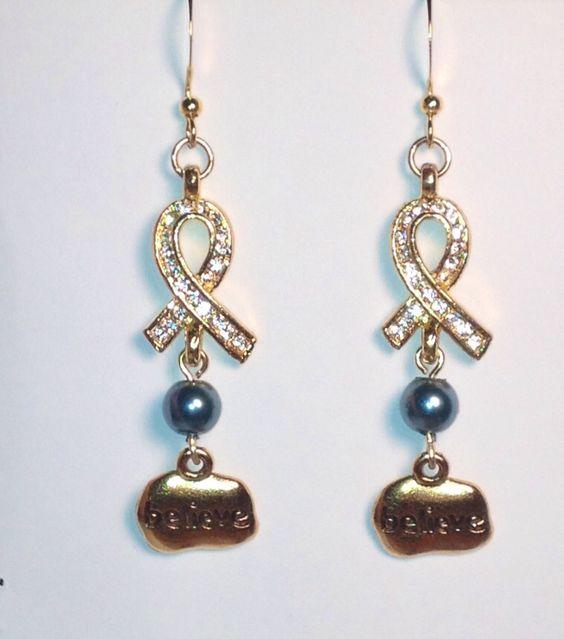Ovarian cancer earrings. $15