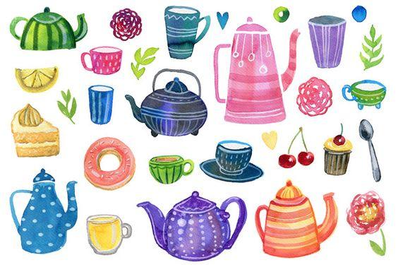 Watercolor tea party clip art by Hala on @creativemarket