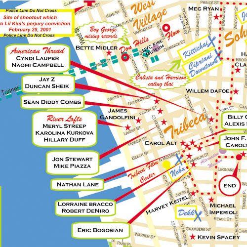 tribeca new york map  New York Star Maps  Maps of Celebrity
