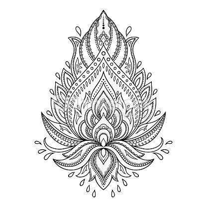 Vektorgrafik : Henna tattoo flower template in Indian style. Ethnic  paisley Lotus.