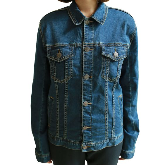 PLAYS Women's Casual Blue Denim Jacket Classic Jean of Right Side Button…