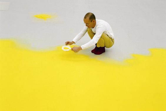 Wolfgang Laib sifting hazelnut pollen, 1992. Courtesy Sperone Westwater Gallery, New York. Wish I could see one of these installations in person - must be an amazing color field.