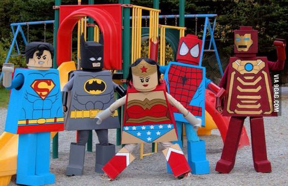 Friends and I made super hero lego men costumes!