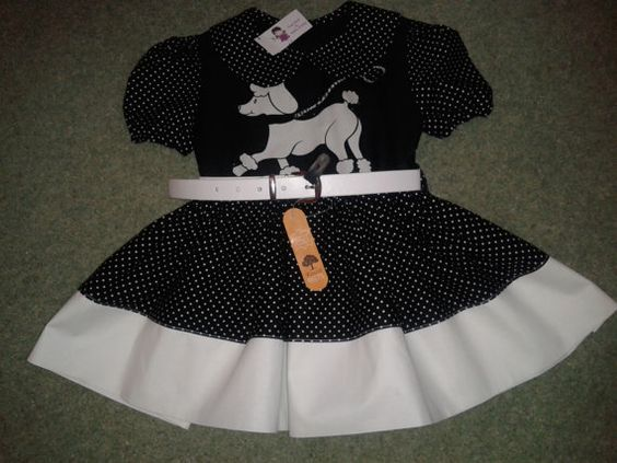 Girls Handmade Smock Dress, 100% Cotton,Poodles, White Leather Belt, Black And White,Spots, 4-5 Years