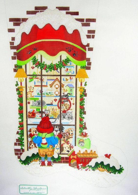*2014* Strictly Christmas LG. Stocking PET SHOP handpaint Needlepoint Canvas~ SO
