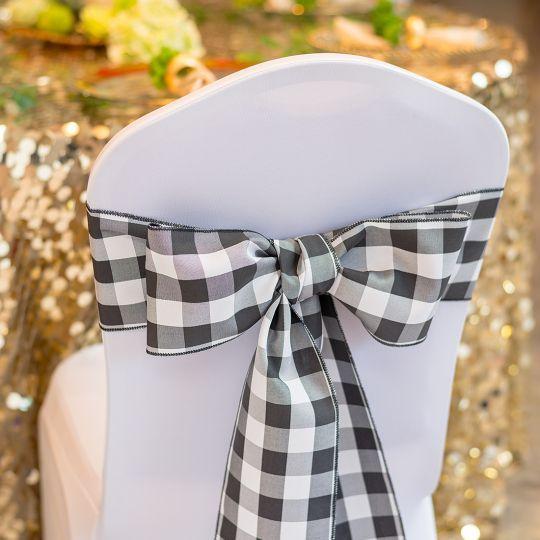 Polyester Chair Sash Black White Checkered 10 Pack Luxury Wedding Decor Chair Sashes Sash