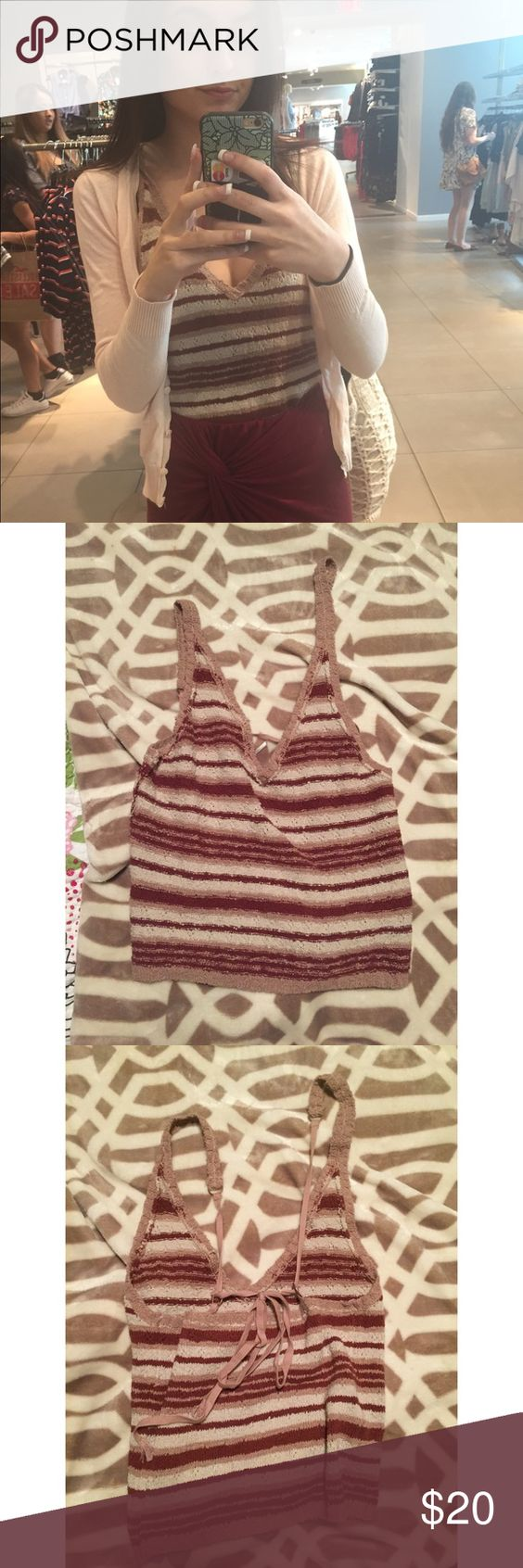 Free People Crochet Tank Worn once, too low cut for me! Free People Tops Tank Tops