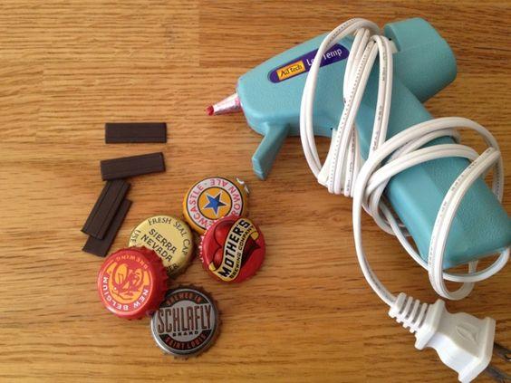 Miss Mel + Miss Heather: DIY: Bottle-cap Magnets