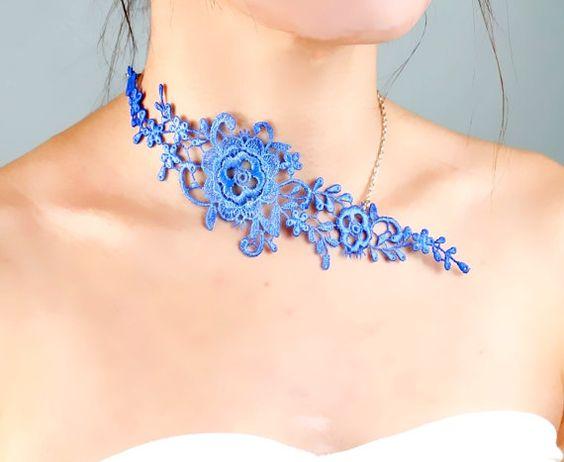 blue / orange lace necklace // gold chain necklace // by LaceFancy