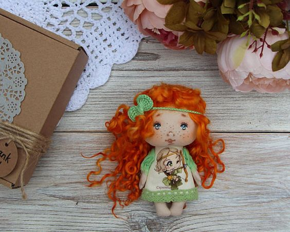 Textile doll Sagittarius doll Fabric little handicraft doll
