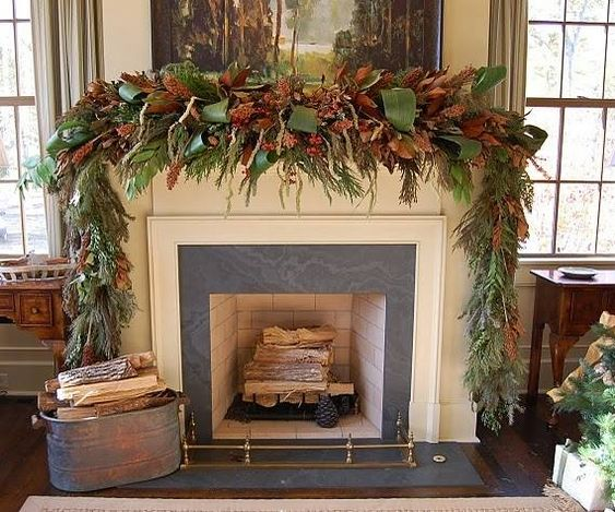Mantel with Magnolia Leaves