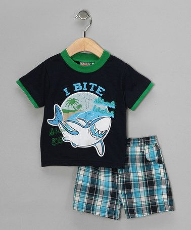Take a look at this Navy 'I Bite' Tee & Shorts - Infant by Little Rebels on #zulily today!