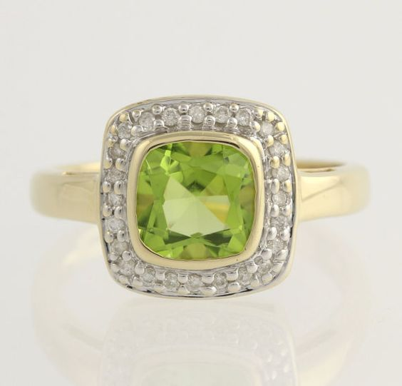 Peridot and Diamond Cocktail Ring  14k Yellow & by WilsonBrothers