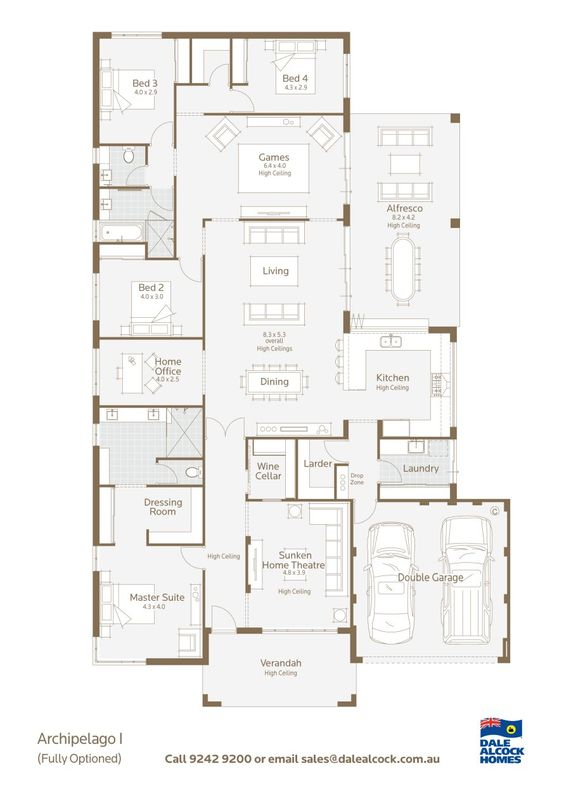 Archipelago floorplan dale alcock would make the wine for Dale alcock home designs