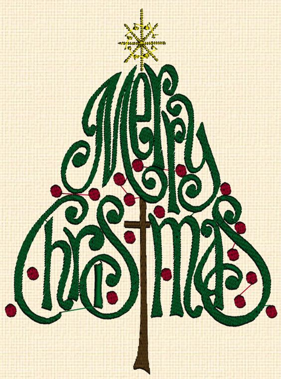 Merry Christmas Tree And Words Machine Embroidery Design