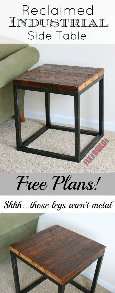Diy reclaimed industrial side table industrial for Industrial diy projects