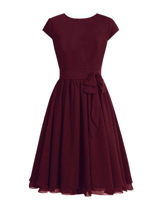 Tidetell 1950s Round Neckline Bridesmaid Dress Cap Sleeve Short Mother of Bride Dress Burgundy Size 22W