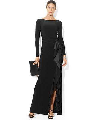 Lauren Ralph Lauren Dress Long-Sleeve Ruffled Silk Gown Love this ...
