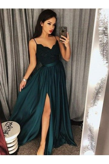Outlet Colorful 2019 Prom Dresses Green Prom Dresses Prom Dresses A Line Prom Dresses Long Lace Lace Bodice Prom Dress Split Prom Dresses