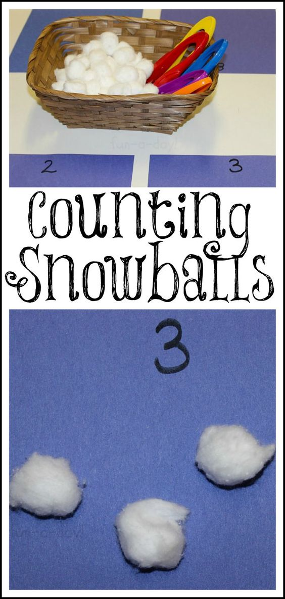 Counting Snowballs from www.fun-a-day.com - A winter math activity for preschoolers. Easy to set up, with a lot of learning!: