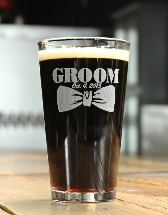 Groomsmen Pint Glasses Etched Glass Personalized by ScissorMill