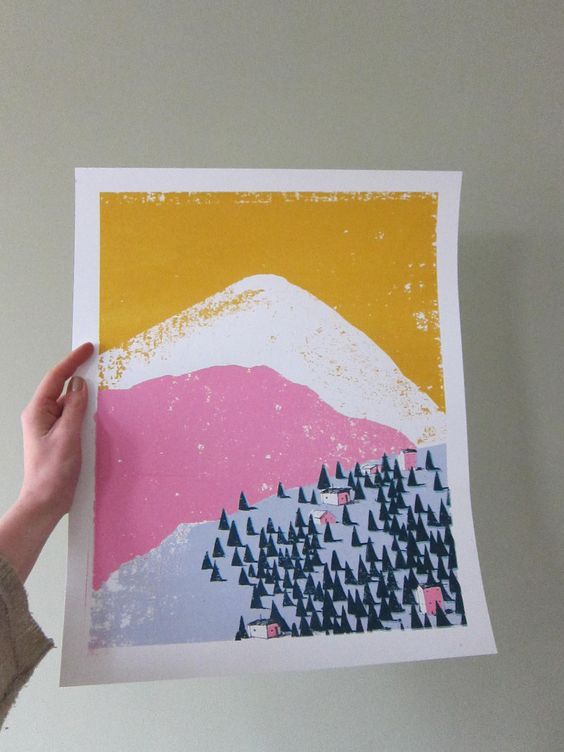 Colourful Screen Print - Limited Edition 'Mountain Scene No. 1', via Etsy.