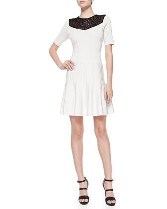 Murano Lace-Yoke Fit & Flare Dress by Nanette Lepore at Neiman Marcus.