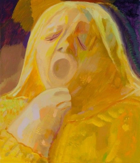 'Yellow Yawner' 2012  Otros de los seres que bostezan de la artista estadounidense (Dana Schutz - Friedrich Petzel Gallery)