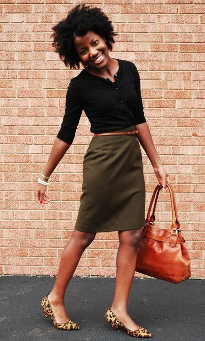 *olive green pencil skirt + black top + cognac bag + leopard flats or pumps + outfit: