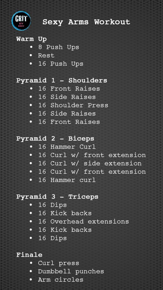 Sexy Arms Workout. Repeat each pyramid 3 times for a more intense workout!