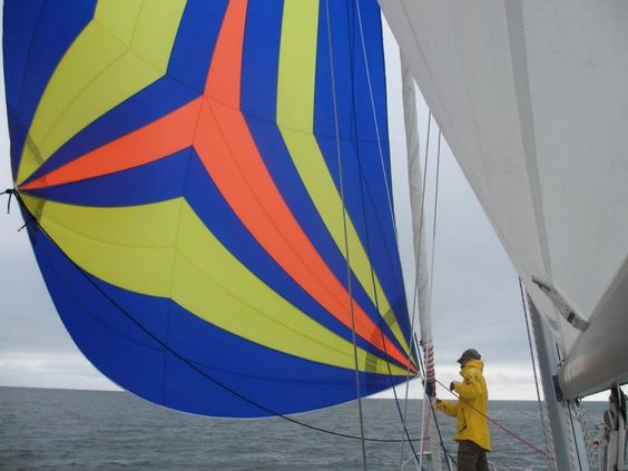 Bill takes his newly finished Asymmetrical Spinnaker Kit from Sailrite for a test ride on his Catalina 320.