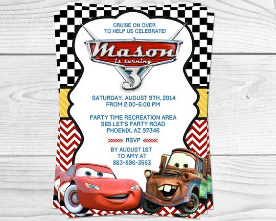 Cars Lightening Mcqueen Party Invitation By