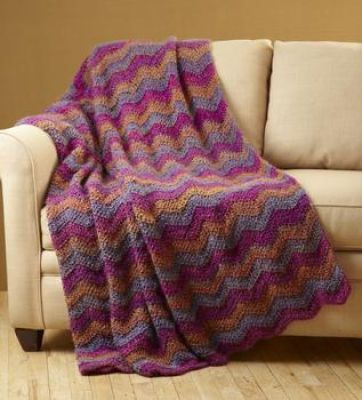 Free Crochet Afghan Patterns Using Homespun Yarn : Homespun yarn Ripple Effect Throw (Michaels) Crochet ...