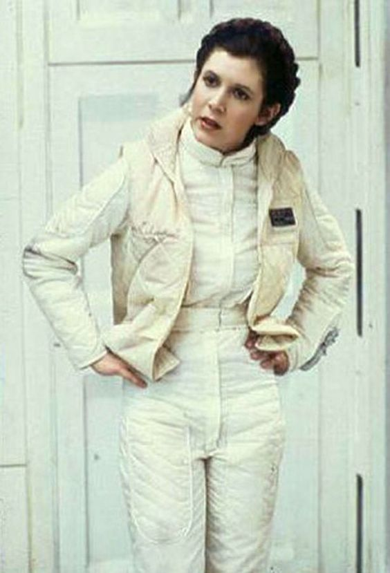 Princess Leia wearing a Hoth snowsuit