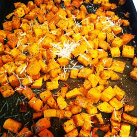 Savory roasted sweet potatoes with rosemary and garlic