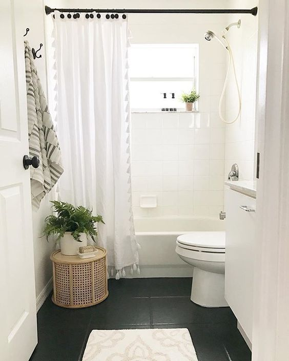 "Missy | Cottage Loving on Instagram: ""I've been thinking about what to do in our guest bathroom for some time now and this painted black tile floor by @hartley_home is giving me…"""