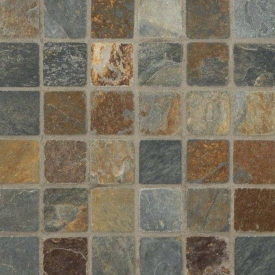 California Gold Tumbled Mesh Mounted Slate 2x2 Mosaic Tile California Gold Tiles Mosaic Tiles