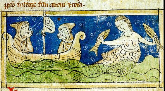 Mermaid holding fish, men in boat. England 13th cent. Sloane3544. BL   Flickr - Photo Sharing!: