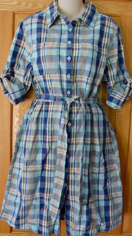 NWT! Womens LL BEAN Shirt Dress PLAID Summer BELTED Blue PETITE M Linen / Cotton #LLBean #ShirtDress #SummerBeach