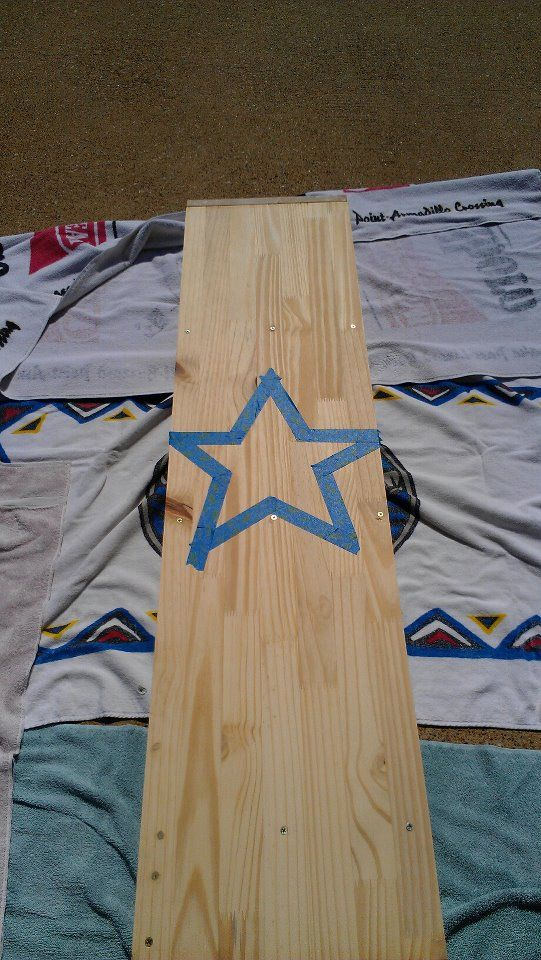 How to make a star with painters tape for the Cowboy Bookcase