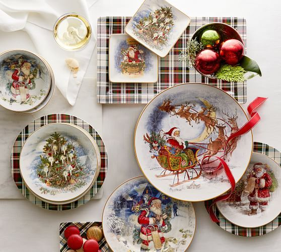 Nostalgic Train Salad Plate Set Of 4 Potterybarn Christmas Plates Christmas Dinnerware Christmas Dishes