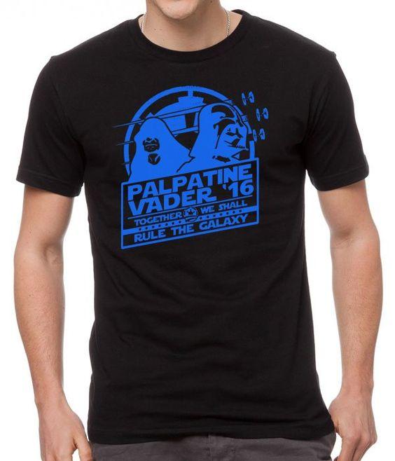 Mens+Tshirt+Star+Wars+Palpatine+Vader+'16+Black+T-Shirt
