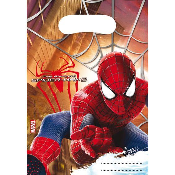 6 sacs Spiderman anniversaire enfant