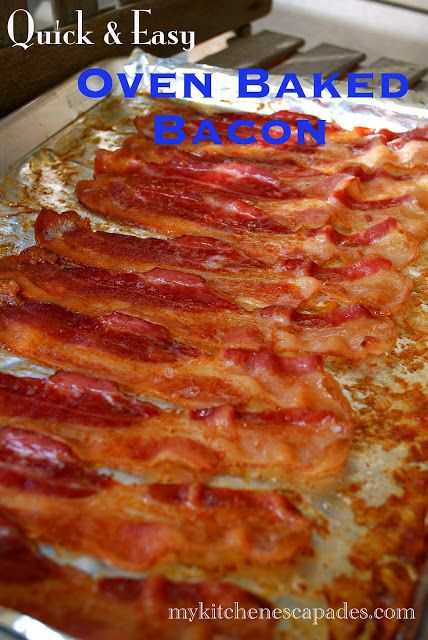 Oven Baked Bacon  1 pound thick cut bacon or turkey bacon    1.  Line a rimmed cookie sheet with aluminum foil.  Lay the strips of bacon in single layer across the pan.  2.  Place the pan in a cold oven, then turn on the oven to 400 degrees.  Allow the bacon to cook for 25 minutes, or until it reaches your desired crispness.