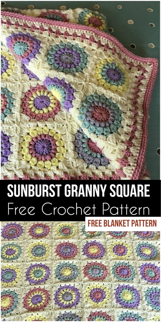 Sunburst Granny Square Blanket [Free Crochet Pattern]