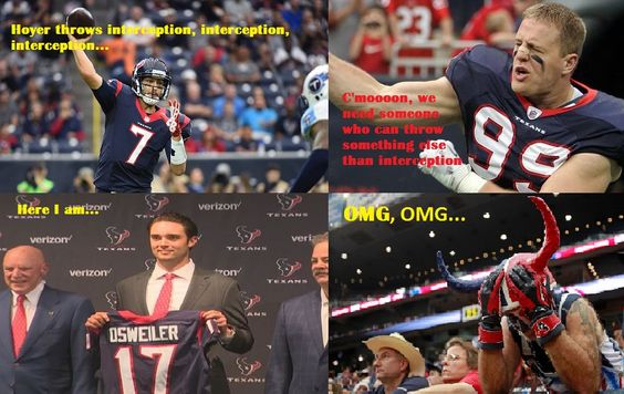 Houston Texans memes - Osweiler and Hoyer in same team