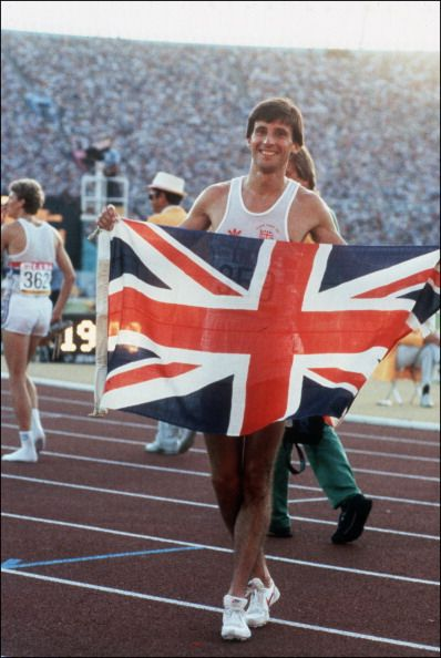 Team GB champion Sebastian Coe holds up the Union Jack on the track after winning the Olympic Men' s 1500m final event, in Los Angeles Olympic Games 1984