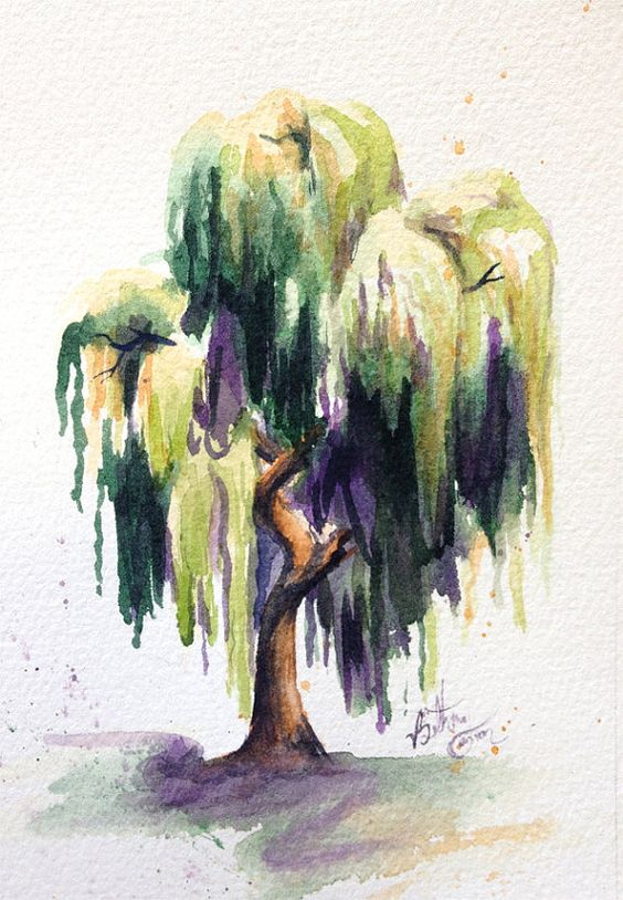 Watercolor Willow Tree by beecanbe on Etsy
