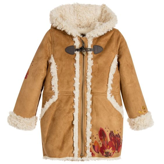 Girls Beige Synthetic Sheepskin Coat | Coats, Girls and Sheepskin coat